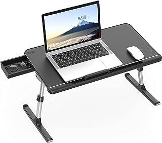 SAIJI Table de lit pour Ordinateur Portable Pliante Réglable en Cuir PVC avec Tiroir de Rangement Déflecteur en Silicone A...
