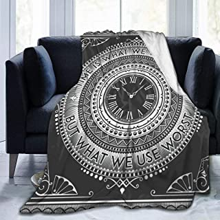 """Fleece Blanket 50"""" x 60""""-Art Deco Vintage Clock with Quotes Home Flannel Fleece Soft Warm Plush Throw Blanket for Bed/Couch/Sofa/Office/Camping"""