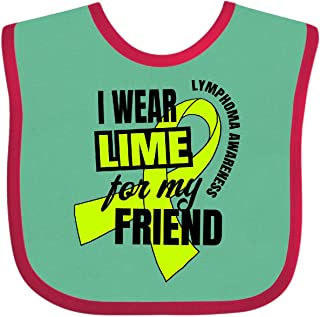 Inktastic I Wear Lime for My Friend Lymphoma Awareness Baby Bib Green and Red