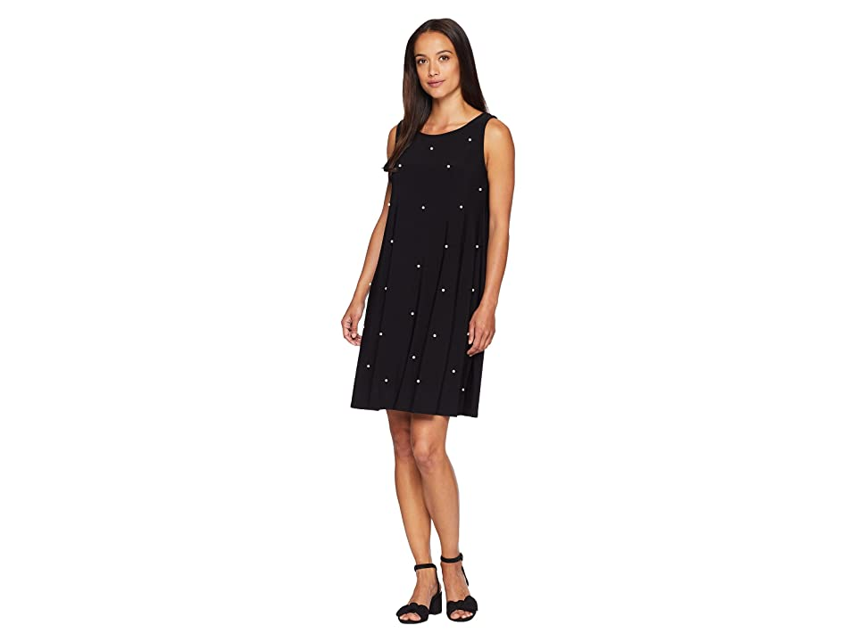 American Rose Thea Sleeveless Dress with Pearls (Black) Women