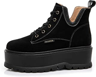 Women's Casual Shoes 2019 Spring Platform Shoes Sports Shoes Leather High-Top Athletic Shoes Fitness & Cross Training Shoes,Black,36