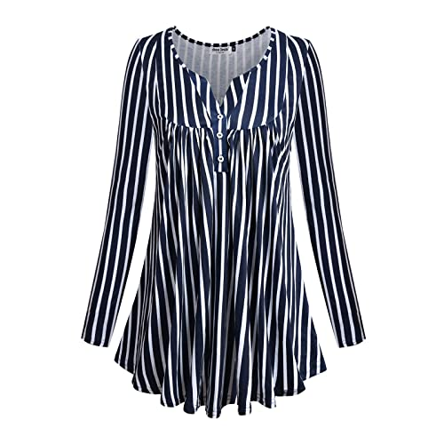 617c41affec Anna Smith Women's Long Sleeve Split V Neck with Buttons Flowy Flare Tunic  Tops …