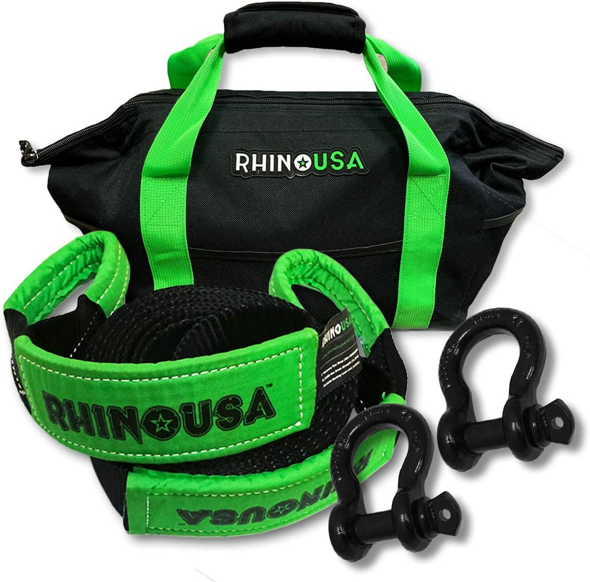 Rhino USA Heavy-Duty Max 72% OFF Recovery Gear Strap + Ranking integrated 1st place 30' Shackles Combos