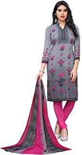 TreegoArt Fashion Women's Printed Ethnic Wear Crepe Unstitched Dress Material -(Free Size) Grey