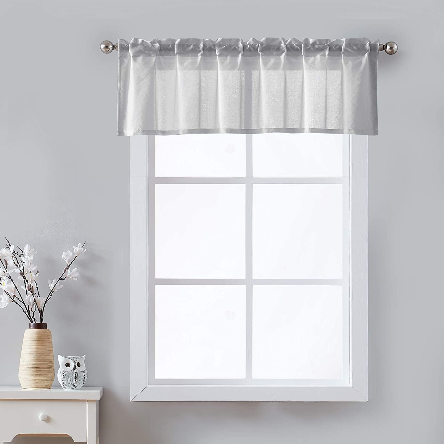 Sheer Grey Kitchen Curtains Valances for Windows Top Solid Short Bathroom  Curtains 122