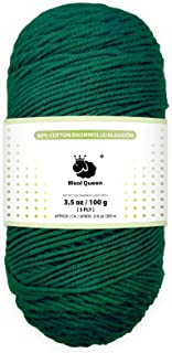 Wool Queen 5 Ply 80% Cotton Yarns, Green,3.5 OZ/218 Yards, Worsted Weight Yarn for Rug Punch, Pompom Art, Weaving, Crochet...