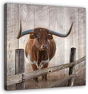 Rustic Wall Decor Canvas Wall Art of Texas Longhorns for Bathroom Bedroom Wall Decoration..