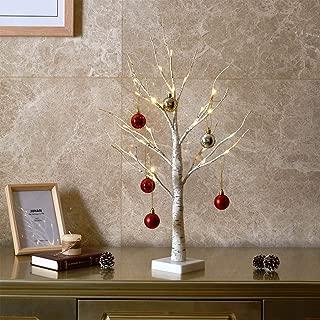 "Padoo 24"" 24LT Birch Tree Battery Powered Tabletop Christmas Ball Pendant Decorative Light for Home Decoration, Wedding."