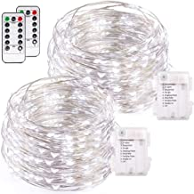 buways 2 Pack 75 LED 24.6ft Battery Operated Fairy String Lights with Remote, 8 Modes Silver Wire Firefly Lights for Christmas Party Bedroom Indoor Outdoor Decor (Cool White)