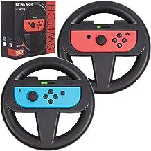 Orzly Pack DE Dos Volantes Usar con los Joy-con Switch – Pack de Volantes Negros [con luz indicando Jugador] para Usar con los mandos Joy-con de la Nintendo Switch