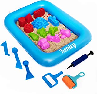 Play Sand Kit for Kids - Kinetic Sandbox with Sand Tray, Tools & 3.5 lb Non-Toxic Sand - Educational Sensory Toys for 3 4 5 6 Year Old Girls & Boys - Creative Sand Play Set