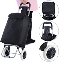 KSEVEN Collapsible Shopping Trolley Push Cart Utility Bag, Grocery Laundry Multi-use, Large Capacity Light Weight Wheeled with Steel Tube and Heavy Duty Waterproof Microfiber Polyester Bag