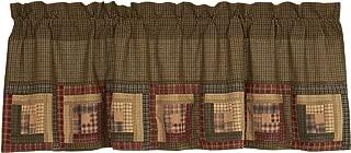 VHC Brands Tea Cabin Log Block Border Plaid Cotton Rustic Kitchen Curtains Rod Pocket Patchwork 20x60 Valance, Moss Green