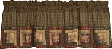 VHC Brands Rustic Thanksgiving Kitchen Tea Log Cabin Block Border Rod Pocket Cotton Patchwork Plaid 20x60 Curtain, Valance, Green
