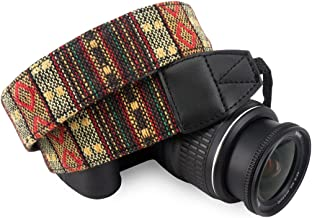 Wolven Pattern Canvas Camera Neck Shoulder Strap Belt for All DSLR/SLR/Men/Women etc, Yellow Stripe Pattern