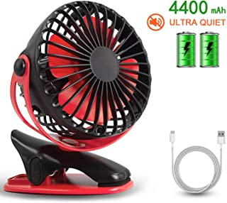 HALLO Gontar Clip-on Stroller Fan 4400 mAh Rechargeable Lithium Battery & USB Cable 360°Rotation Adjustable Speed-Operated Accessory for Baby, Car Seat, Gym, Travel, Treadmill,(Black&RED)