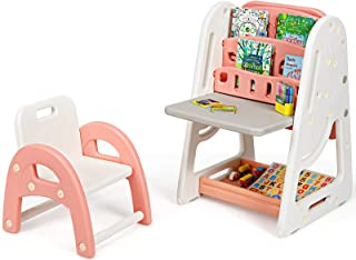 Boys Girls Bedroom//Playroom//Study Room Furniture Study Desk for Kids Toddlers Grey /& White 2 in 1 Height Adjustable Childrens Table with Book Rack /& Storage Shelf Hadwin Kids Table and Chair Set