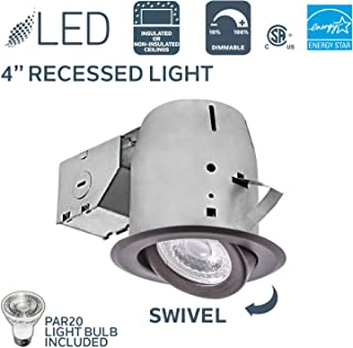 Nadair PR378L-SWORB LED Recessed Light Swivel Spotlight Dimmable Downlight-PR378L-SWORB C Rated-3000K Warm White PAR20 630 Lumens Bulb (50 Watts Equivalent) Included, 4 inch, OIL RUBBED BRONZE