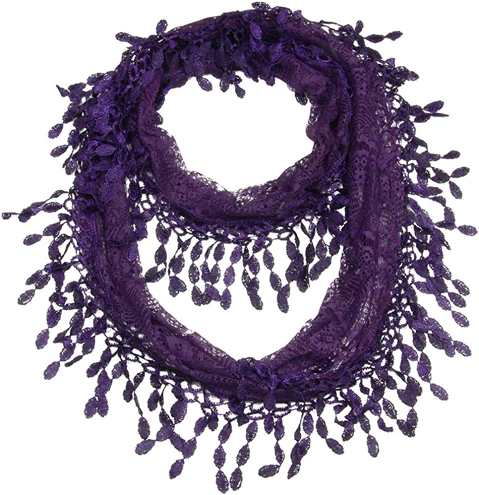 Falari Women Lightweight Lace Infinity Loop Scarf With Fringes Polyester