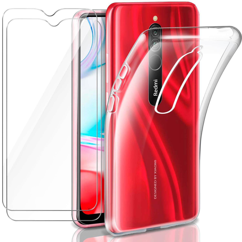 Leathlux Funda Xiaomi Redmi 8 + 2 x Protector de Pantalla Xiaomi Redmi 8, Transparente TPU Silicona Funda + Cristal Vidrio Templado Protector de Pantalla y Carcasas Xiaomi Redmi 8: Amazon.es: Electrónica