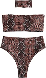 ZAFUL Women's Strapless Snakeskin Print High Cut Bandeau Bikini Set with Choker