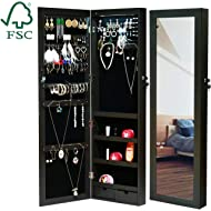 EMONIA LEDs Jewelry Cabinet Armoire with Full Length Mirror,Lockable Jewelry Organizer Wall/Door...