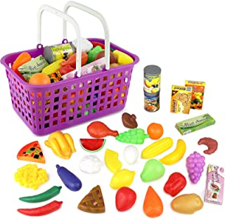 Click n' Play 33 Pc. Kids Pretend Play Grocery Shopping Play Toy Food Set, Fruit and Vegetable with Shopping Basket