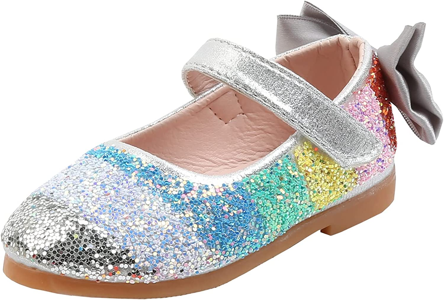 Little Flower Girls Shiny Sequins Rainbow Ballet Flats with Bowknot Dress Shoes