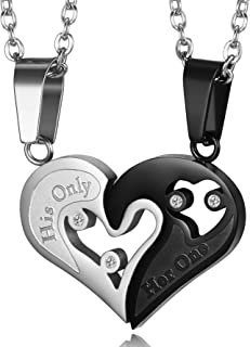 2pcs His Only Her One Stainless Steel His and Hers Couple Necklace Love Heart CZ Puzzle Matching