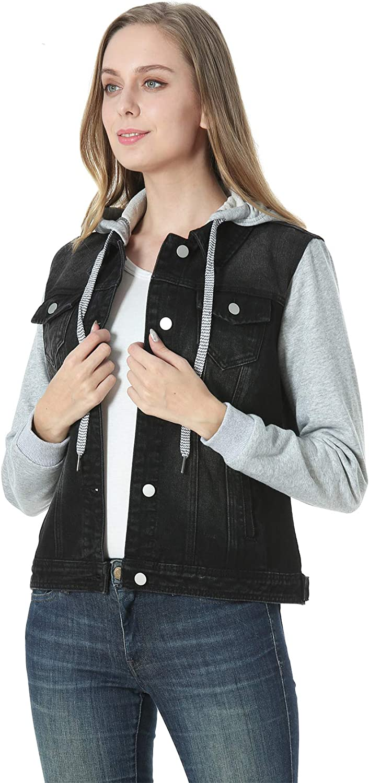 MISS MOLY Womens Layered Drawstring Casual Hoodie Denim Jackets Jean Jacket Coat w Pockets