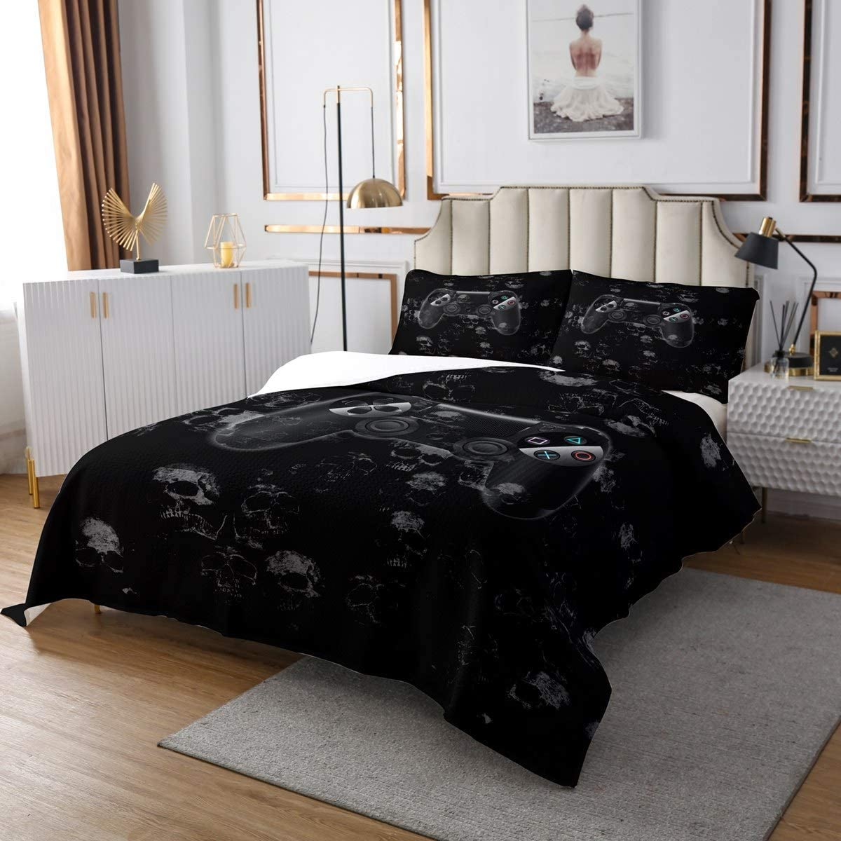Erosebridal Gamer Quilted Coverlet Twin Boys Games Bedspread for Bedroom Video Game Gamepad Bed Cover Novelty Gaming Bedding Comforter Set Quilted 2 Piece Coverlet Set with 1 Pillow Case