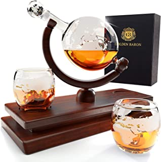 Globe Whiskey Decanter and Glass Set - Double Thickness Glass and Crystal Stopper - Liquor Decanter and Dispenser