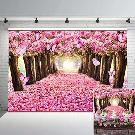 Floral 10x8 FT Vinyl Backdrop PhotographersJapanese Cherry Blossom Sakura Blooms Branch Spring Inspirations Print Background for Party Home Decor Outdoorsy Theme Shoot Props
