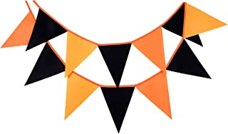 LOVENJOY Felt Black and Orange Halloween Burlap Banner | Halloween Party Decorations Supplies