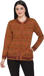 aarbee Floral Round Neck Woollen Cardigan for Women