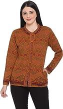 aarbee Floral Round Neck Woollen Cardigan for Women