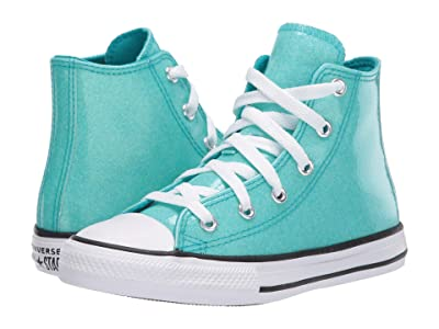 Converse Kids Chuck Taylor(r) All Star(r) Coated Glitter (Little Kid/Big Kid) (Rapid Teal/Black/White) Girl