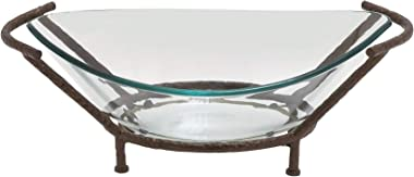 Bowl and Metal Stand Green Glass Iron