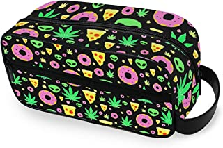 Alien Donut Leaf Weed Pizza Portable Toiletry Bag Travel Wash Bag Daily Handbag Cosmetic Bag Luggage Pouch