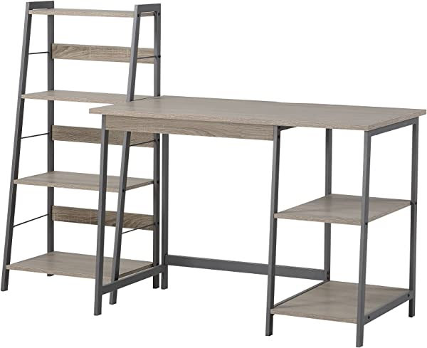 HOMESTAR 2 Piece Laptop Desk 4 Shelf Bookcase Set 43 X 23 6 X 47 20 X 14 X 44 Reclaimed Wood