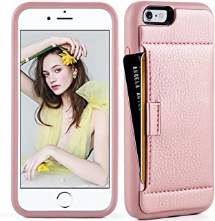 ZVE Case for Apple iPhone 6s and iPhone 6, 4.7 inch, Slim Leather Wallet Case with Credit Card Holder Slot Pocket Protective Case Cover for Apple iPhone 6 / 6s - Rose Gold