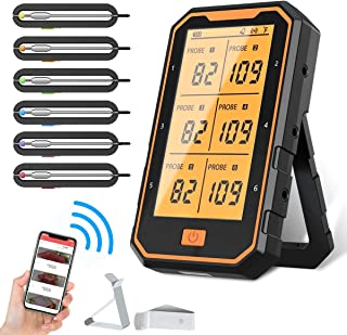 Bluetooth Meat Thermometer, 300FT Wireless Meat Thermometer for Grilling, Smart APP Control BBQ Thermometer, 6 Probes with...
