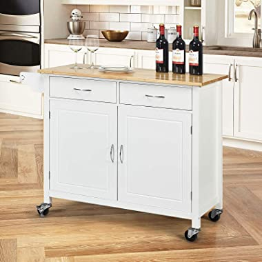 Nafort Rolling Kitchen Island Cart on Wheels, Utility Trolley Cart Bar Serving Cart w/Rubber Wood Top, Handle Rack, Storage C