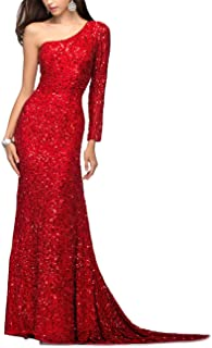Womens One Shoulder Sequins Evening Prom Dresses Long Formal Party Gowns PM11