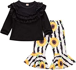 Fall Winter Baby Girl Bell-Bottom Pants Set Outfits Long Sleeve Leopard Tops +Leopard Pants 2Pcs Clothes