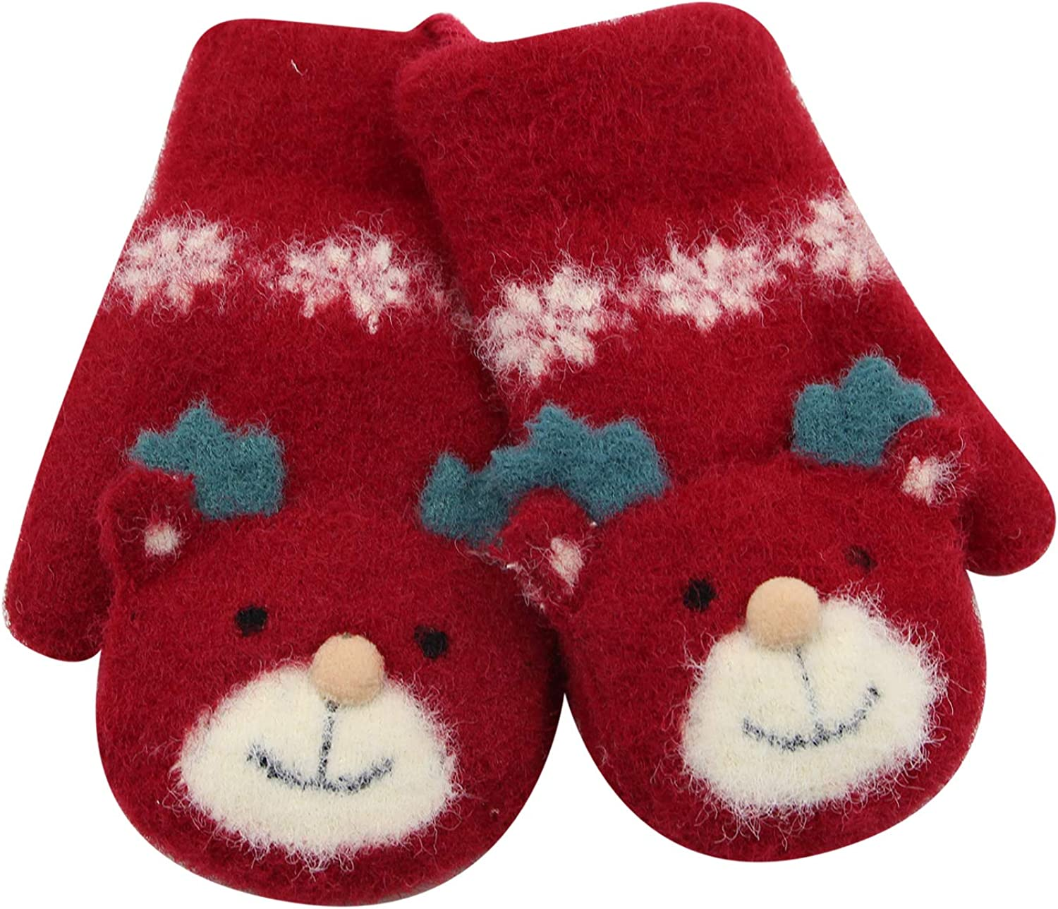 Kids Cute Winter Warm Mittens Gloves Lovely Thicken Knitted Gloves with String for Boys Girls