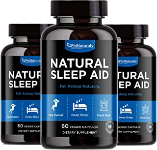 Natural Sleep Aid with Melatonin – 60 Count (Pack of 3) GABA and Valerian Root | Passion Flower & Hops | Skullcap & Chamom...