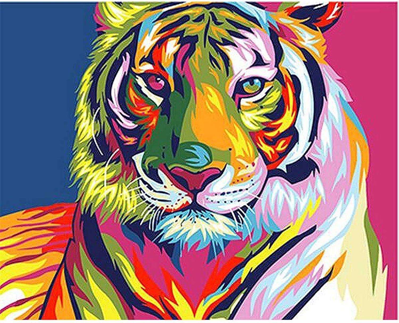 Malen Nach Zahlen Farbig Tiger Head Home Decor Für Erwachsene DIY-Framed B07Q3KF642 | Moderne Muster