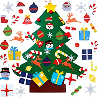 Felt Christmas Tree, DIY Wall Christmas Tree with 31 Pcs Detachable Ornaments Wall Decor..