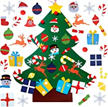 WESJOY Felt Christmas Tree, DIY Christmas Tree with 31 Pcs Detachable Ornaments Wall Decor with Hanging Rope for Toddlers Kids Xmas Gifts Home Door Decoration